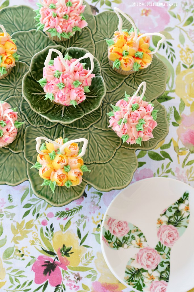 Blooming Bunny Ear Cupcakes for Easter | ©homeiswheretheboatis.net #easter #dessert #cake #recipe