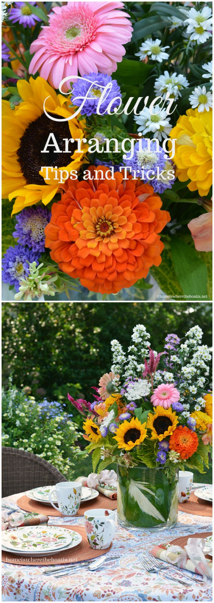 Flower Arranging Techniques, Tips and Tricks using flowers from the garden or grocery store! | ©homeiswheretheboatis.net