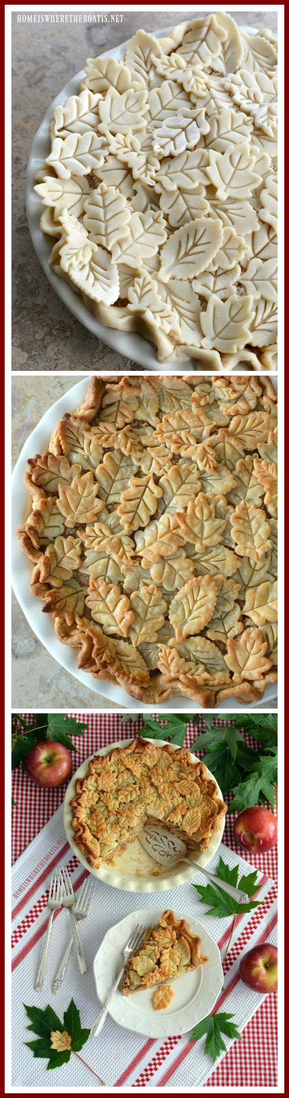 Apple Pie with pie crust leaf embellishments | ©homeiswheretheboatis.net #apple #pie #recipes