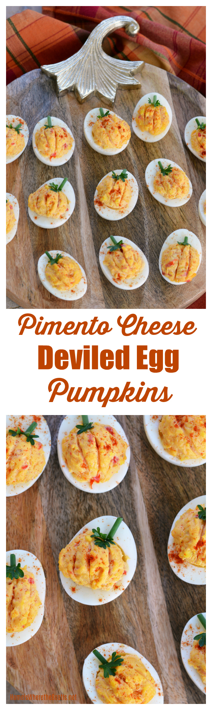"Pimento Cheese Deviled Egg ""Pumpkins"" 