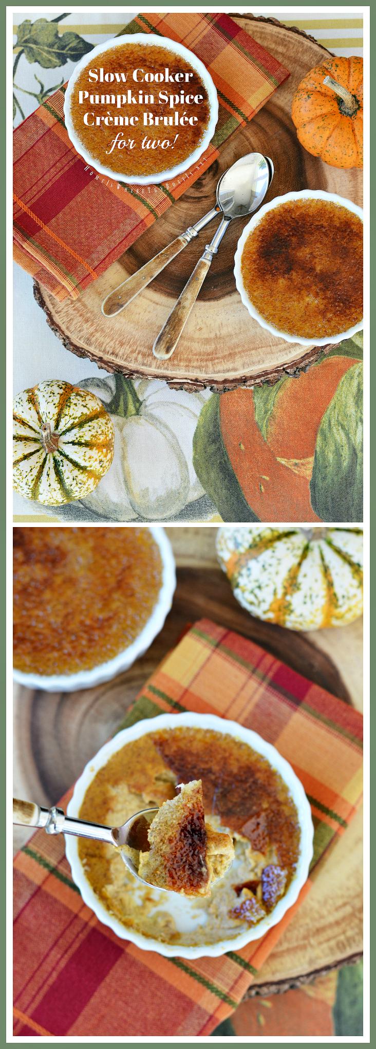 Slow Cooker Pumpkin Spice Crème Brulée for Two! #slowcooker #crockpot #pumpkin #dessert #recipe