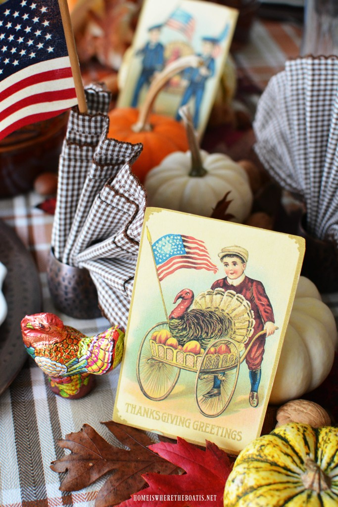 'Thankful for Veterans' Table with Patriotic Vintage Thanksgiving Greetings Postcards and American Flags | homeiswheretheboatis.net #Thanksgiving table #patriotic #postcard #tablescape