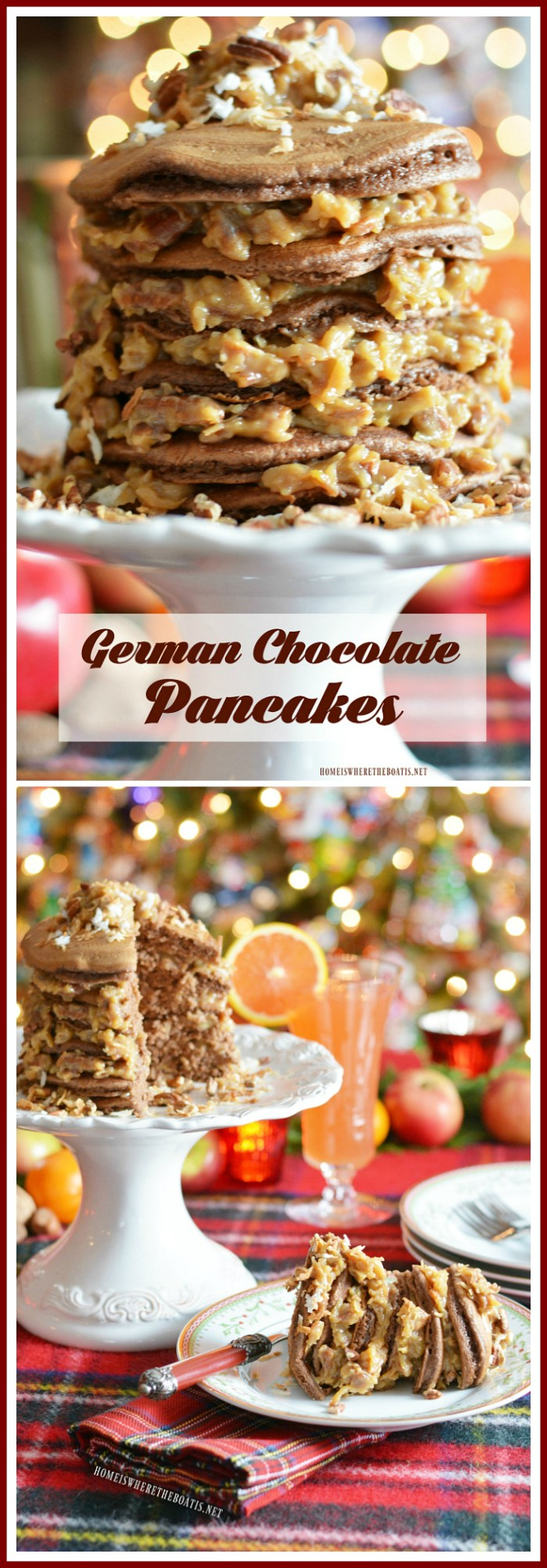 Decadent German Chocolate Pancakes from cake mix! | homeiswheretheboatis.net #Christmas #novelbakers #brunch #recipe