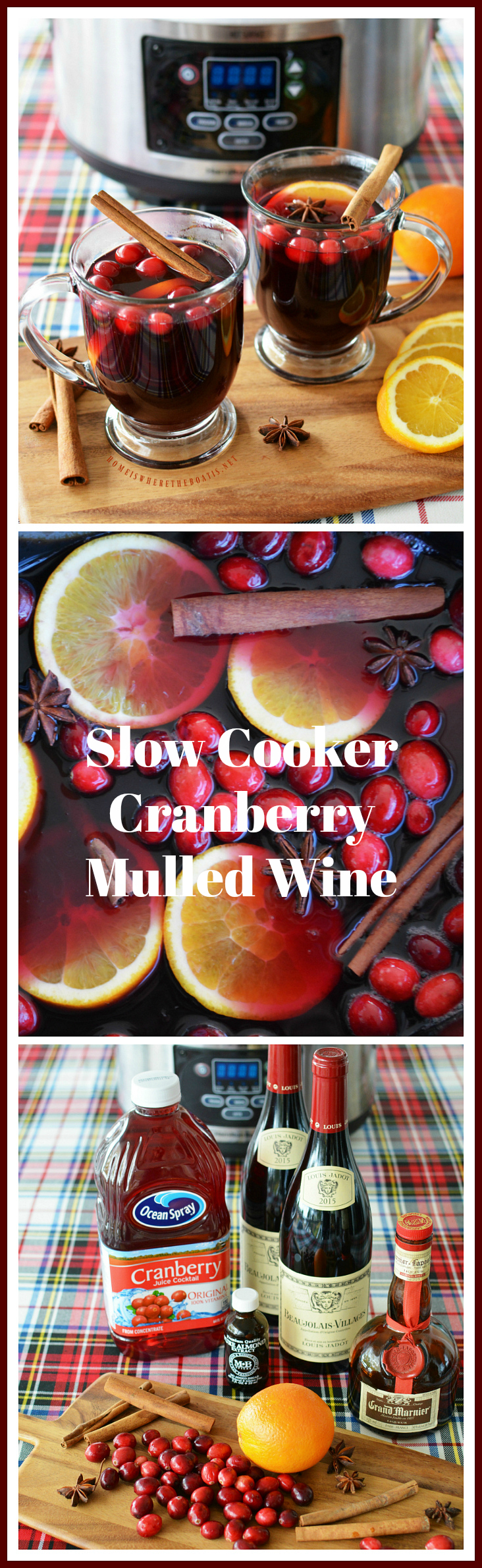 Slow Cooker Cranberry Mulled Wine | ©homeiswheretheboatis.net #slowcooker #CrockPot #recipe #cocktail