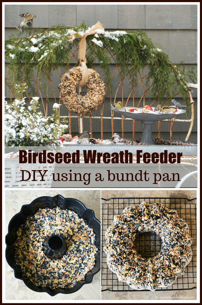 Feed your feathered friends with a fun winter DIY, a Birdseed Wreath Feeder, using a bundt pan! | ©homeiswheretheboatis.net #WinterDIY #birdfeeder #bundtpan