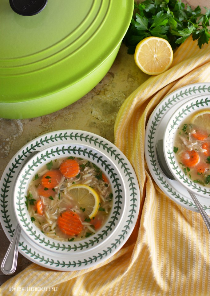 Lemon Chicken Orzo Soup: Favorite Chicken Soup for Cold and Flu Season! | homeiswheretheboatis.net #chickensoup #fluseason