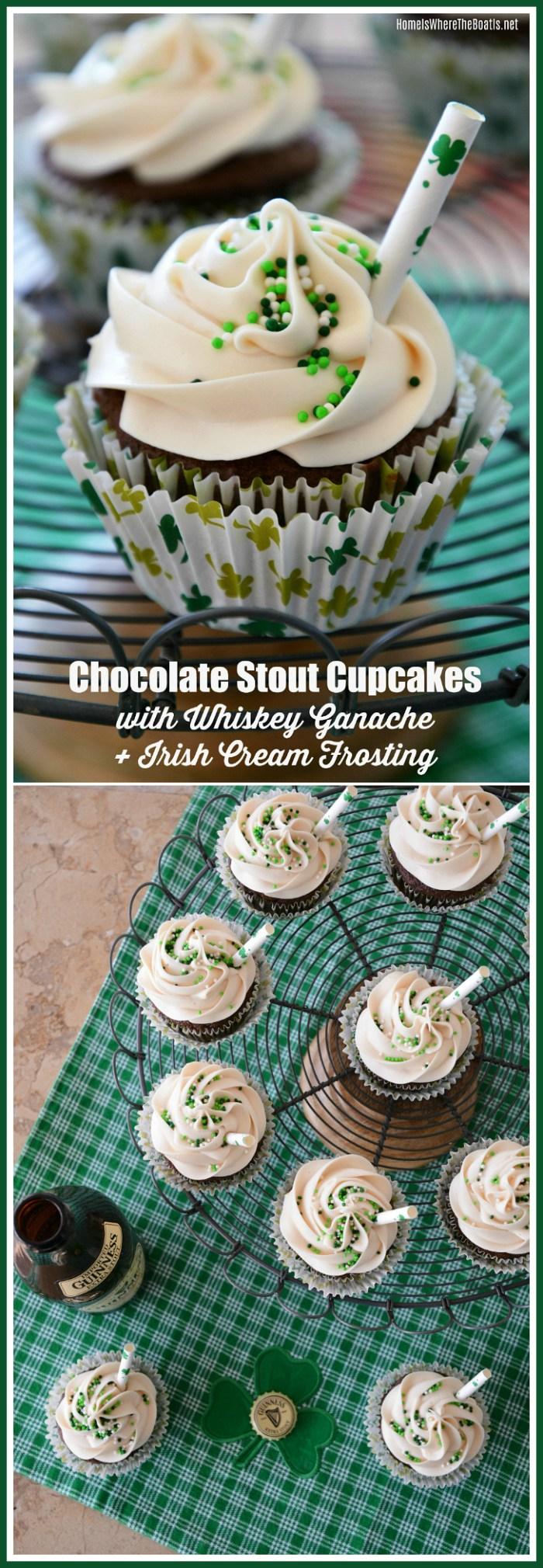 Eat, Drink and Be Irish: Chocolate Stout Cupcakes with Whiskey Ganache and Irish Cream Frosting | ©homeiswheretheboatis.net #stpatricksday #guinness #recipe #cupcake #Irish