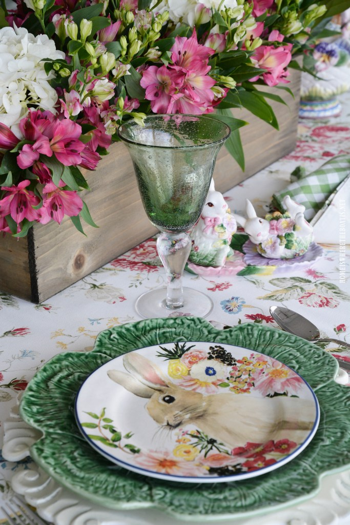 Bunnies and Blossoms Spring Tablescape | ©homeiswheretheboatis.net #spring #bunny #tablescapes #easter