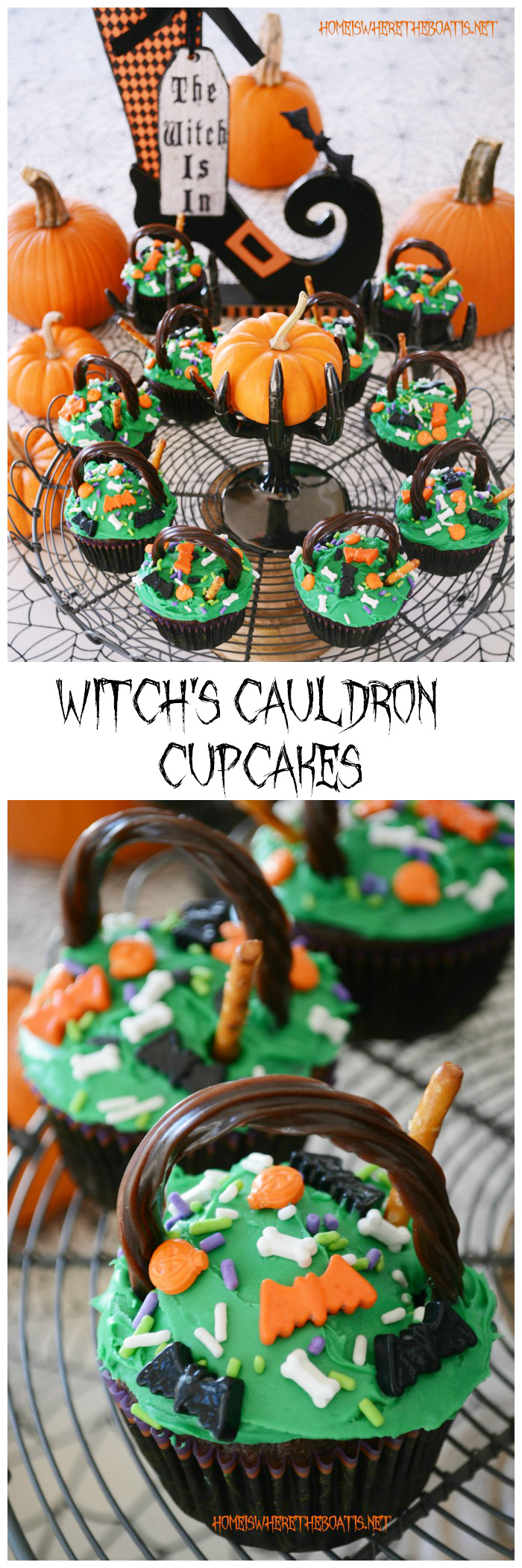 Witches Cauldron Cupcakes | ©homeiswheretheboatis.net #Halloween #cupcakes