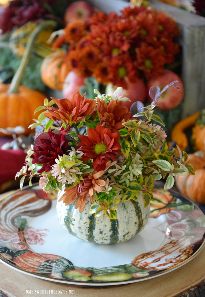 Blooming Pumpkin Vase DIY and Harvest Pumpkin Tablescape | ©homeiswheretheboatis.net #fall #tablescapes #pumpkinvase #DIY