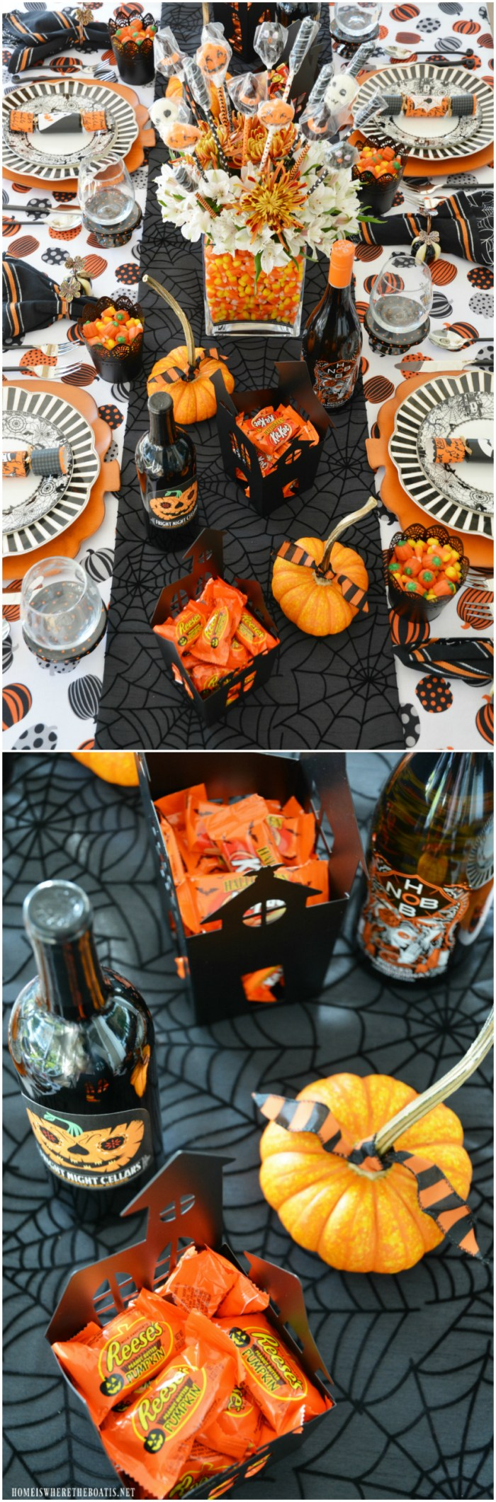 Candy Corn Centerpiece DIY and Happy HalloWine and Candy Pairing Tablescape | ©homeiswheretheboatis.net #Halloween #tablesetting #Hallowine #tablescape #candycorn #DIY