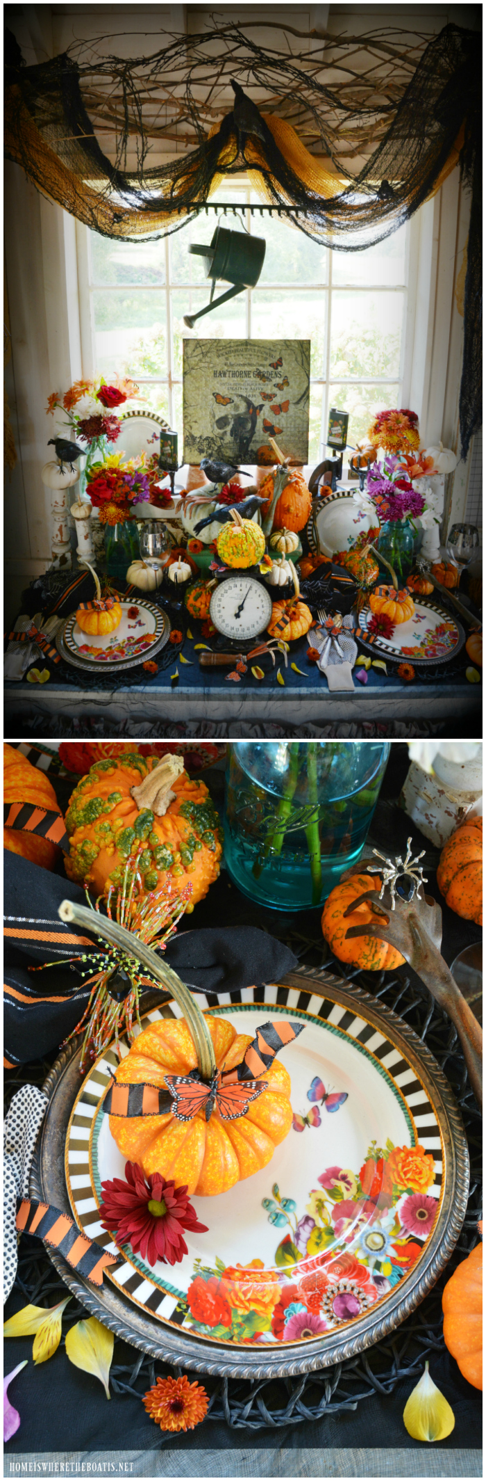 Hawthorne Gardens Wicked Beautiful Flowers | ©homeiswheretheboatis.net #Halloween #tablescape #tablesetting #pottingshed