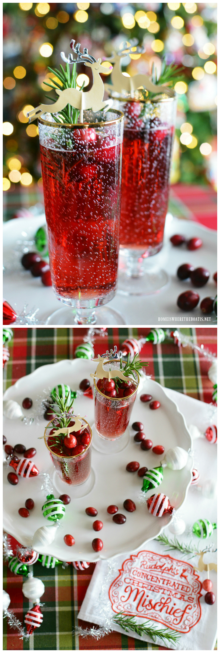 Rudolph's Concentrated Christmas Mischief Cocktail! | homeiswheretheboatis.net #Christmas #cocktail #cranberry #champagne #rosemary