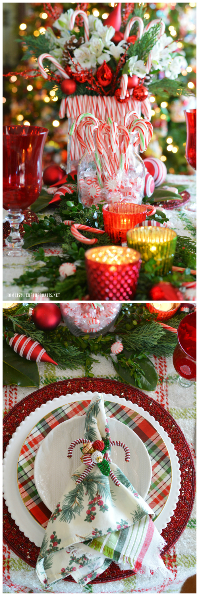Merry and Bright Candy Cane Christmas Tablescape | ©homeiswheretheboatis.net #Christmas #tablescapes #redandgreen #candycanes
