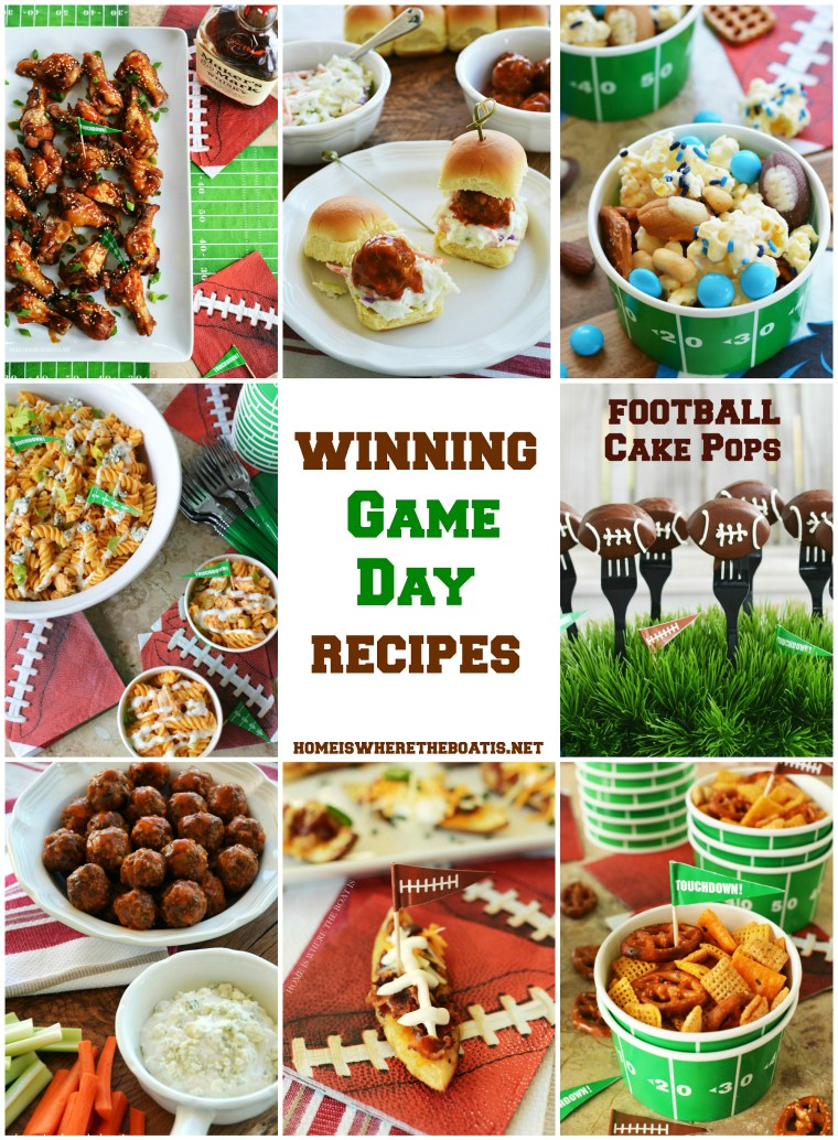 ame Day recipes for your Super Bowl Snacking, next tailgate or to kick off football season! Recipes for Pigskin Potato Skins, Buffalo Chicken Pasta Salad, Slow Cooker Sweet & Sticky Wings, Buffalo Meatballs, Football Cake Pops and More! | ©homeiswheretheboatis.net #footballfood #superbowl #gameday #recipes