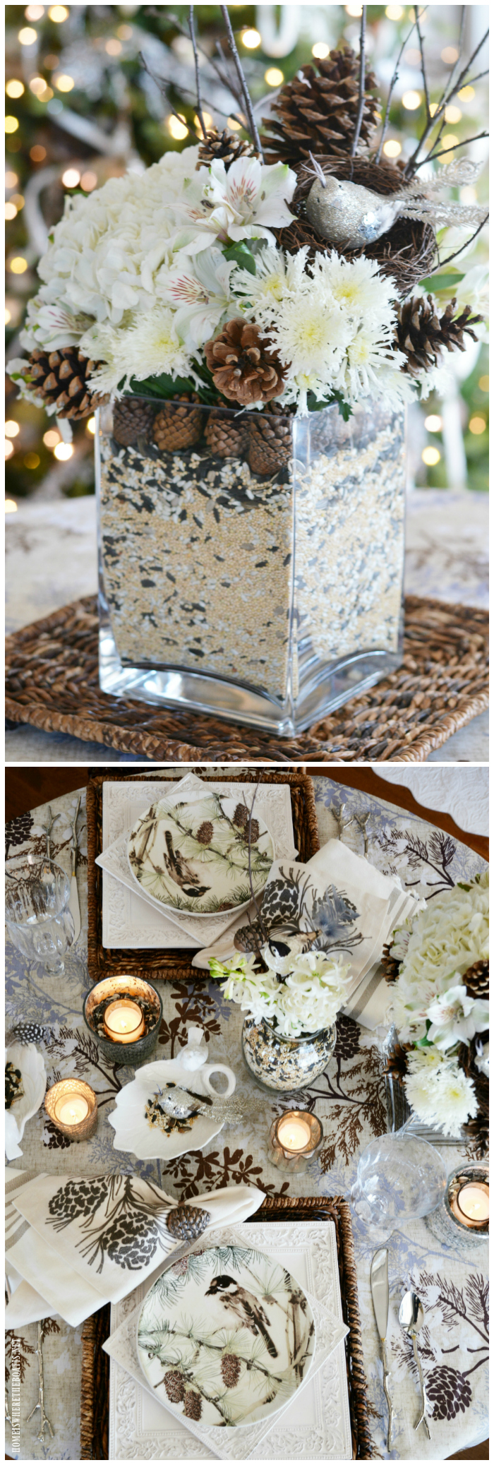 Create a 'Winter Nesting' Centerpiece for your table. This nesting-vase method is a decorative and easy way to hide your floral stems when using a glass vase for a flower arrangement. Customize your arrangement with the 'filler' or decorative material of your choice to match your decor or tablesetting.