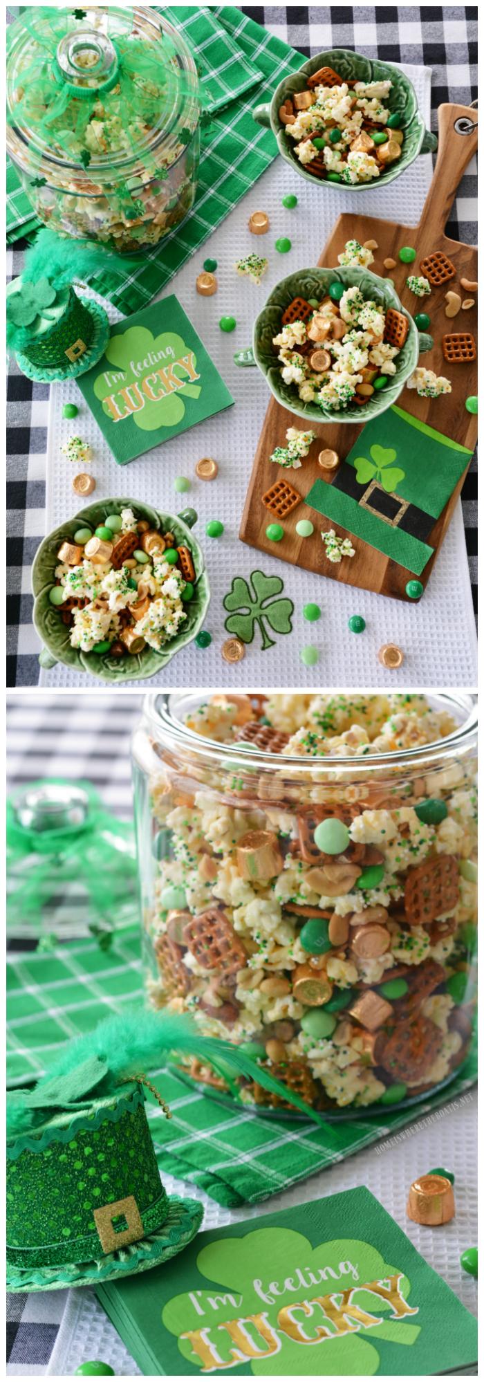 'Lucky' Popcorn Mix for St. Patrick's Day | ©homeiswheretheboatis.net #stpatricksday #popcorn