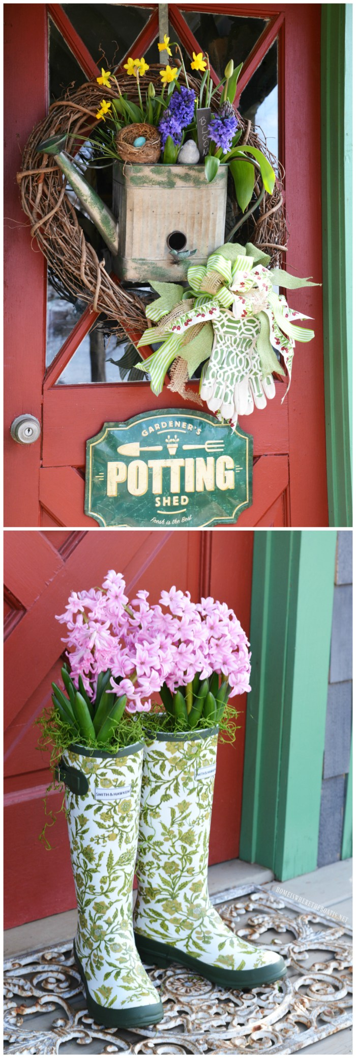 Blooming Spring Wreath for the Potting Shed and Wellies with Hyacinths | ©homeiswheretheboatis.net #garden #flowers #spring #wreath #shed #wellies