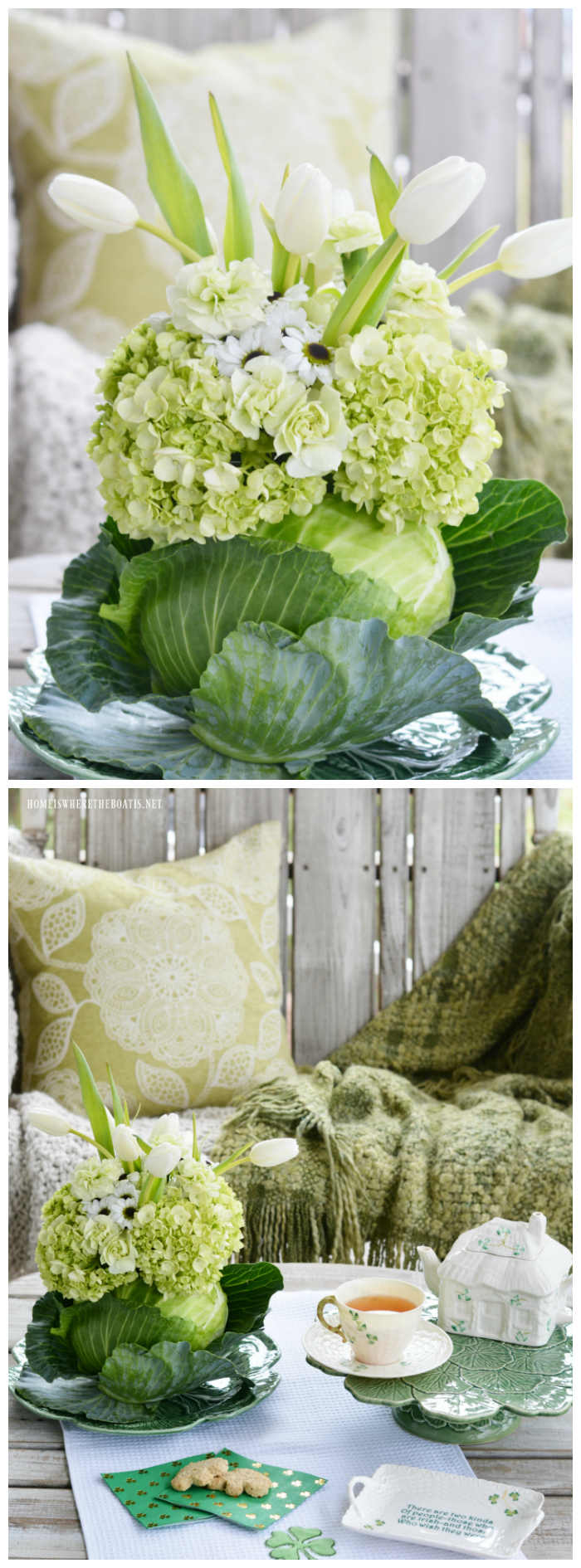 Blooming Cabbage Vase DIY | ©homeiswheretheboatis.net #stpatricksday #flowers #cabbage
