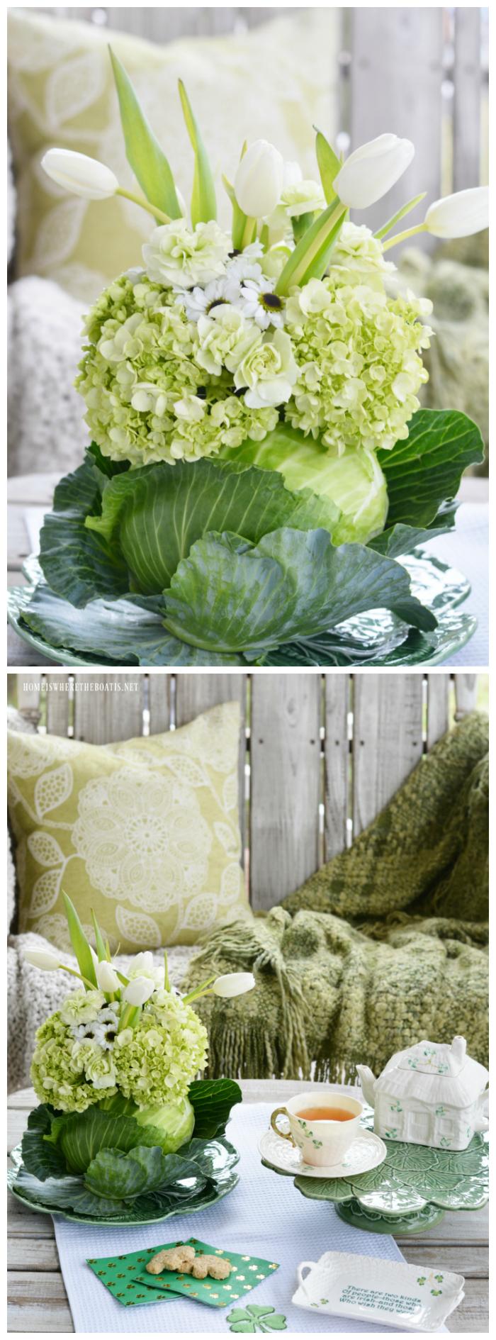 Blooming Cabbage Vase DIY| ©homeiswheretheboatis.net #stpatricksday #flowers #cabbage