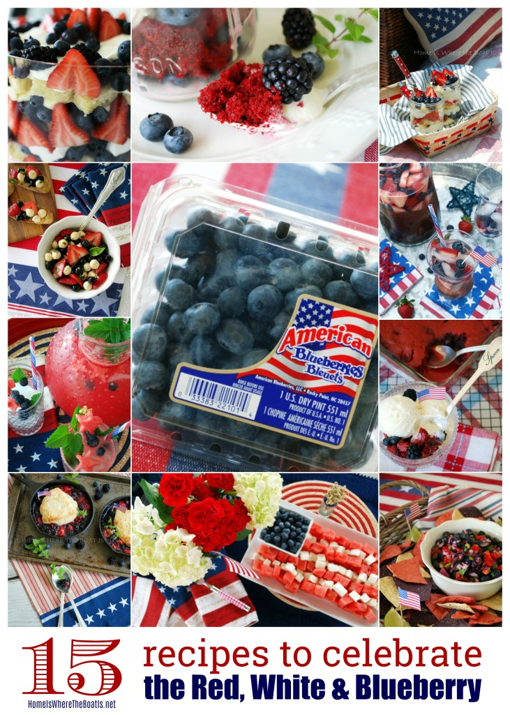 15 Patriotic Recipes to Celebrate the Red, White and Blueberry! | #recipes #4thofjuly #desserts #appetizers #memorialday #cocktails