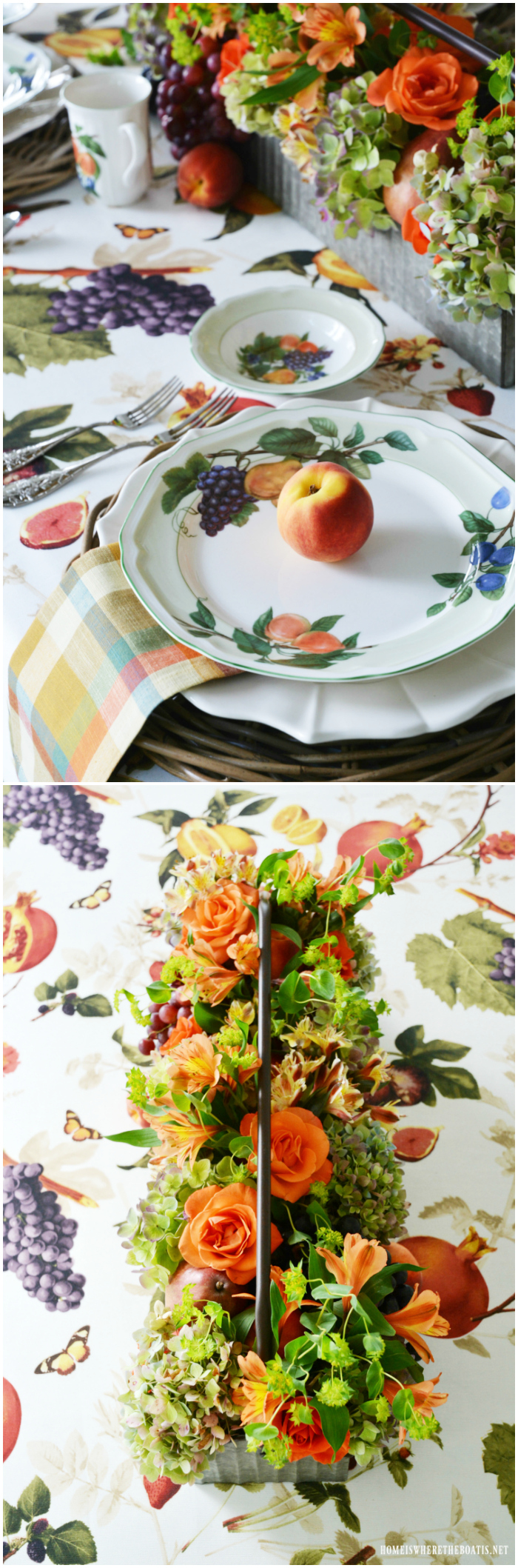Celebrate summer and create an arrangement and centerpiece for your table using fruit and flowers with these easy shortcuts and tips, no floral foam required.