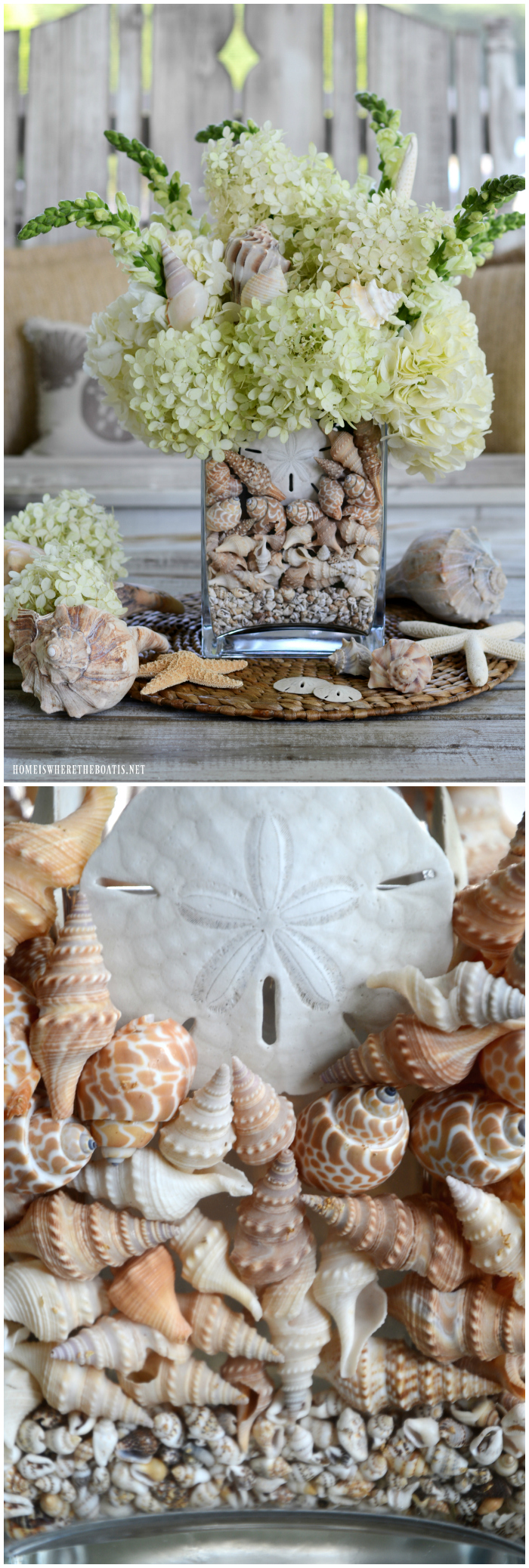 Create a flower arrangement and centerpiece for your table incorporating seashells. This easy tutorial adds some seaside charm and interest to your glass vase, in addition to a decorative way to conceal your flower stems.