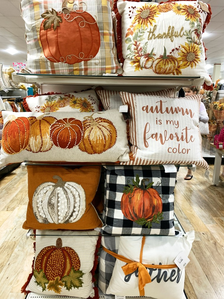 Retail therapy: a harvest of fall pillows | ©homeiswheretheboatis.net #HomeGoods #fall