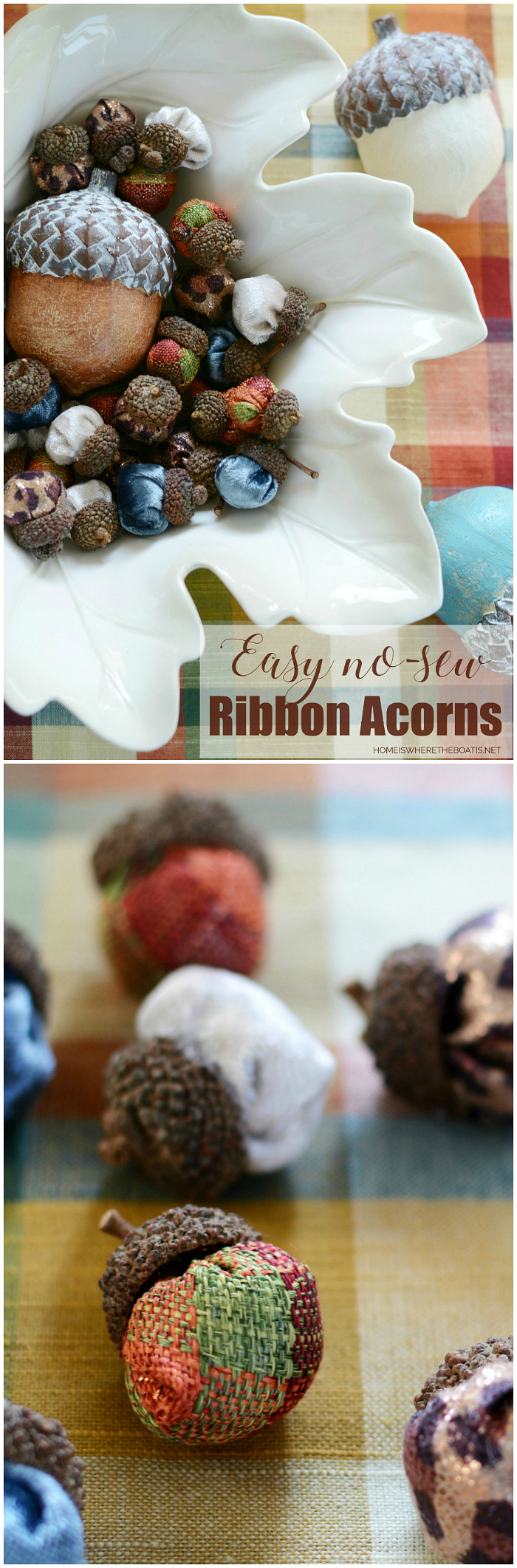 Easy No-Sew Ribbon Acorns | ©homeiswheretheboatis.net #fall #DIY #acorns