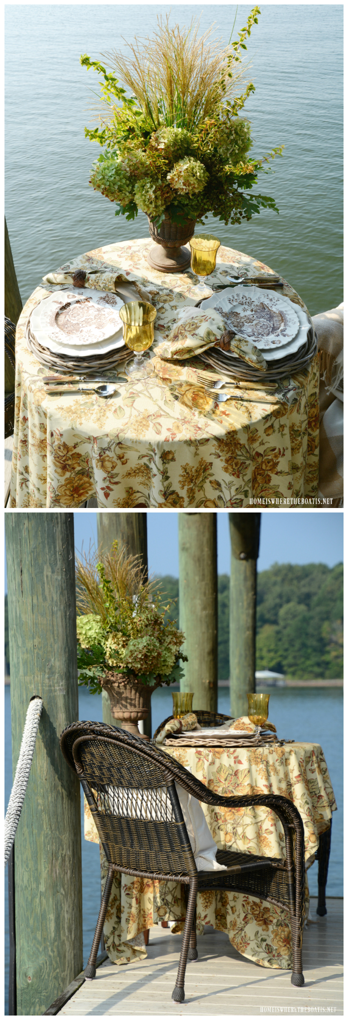 Dockside table and early fall flower arrangement | ©homeiswheretheboatis.net #fall #flowers #tablescapes #lake