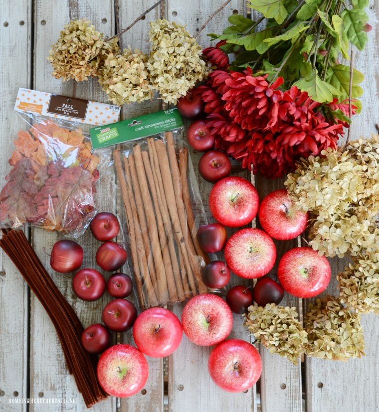 Supplies DIY Apple Spice Wreath | ©homeiswheretheboatis.net #fall #wreath #apples #DIY