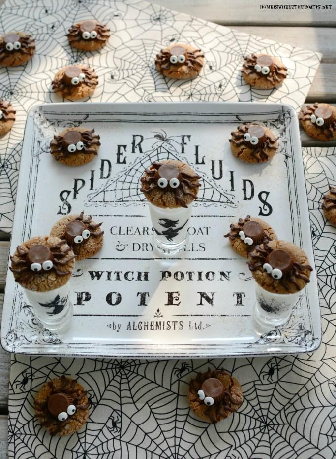 Peanut Butter Spider Halloween Cookies | ©homeiswheretheboatis.net #recipes #Halloween