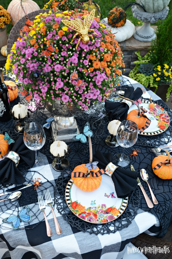 Hawthorne Gardens Wicked Beautiful Flowers Tablescape + Rib Tickling Fun | ©homeiswheretheboatis.net #halloween #tablescapes #garden
