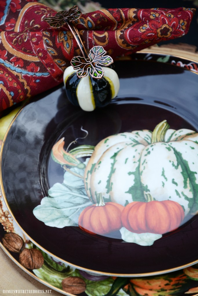 Fall table with pumpkin centerpiece | ©homeiswheretheboatis.net #fall #tablescapes #centerpiece