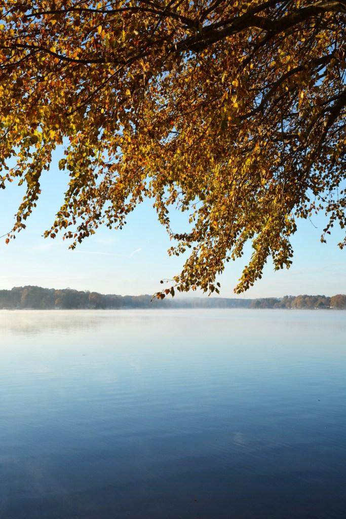 Steam fog Lake Norman November| ©homeiswheretheboatis.net #fall #autumn #lake