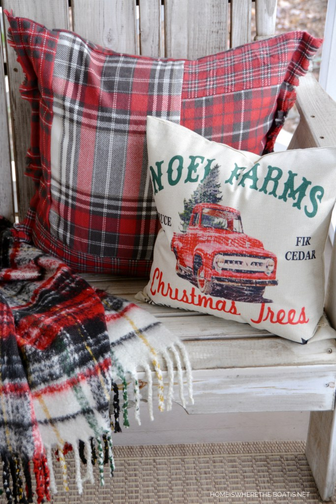 Noel Farms Christmas Trees Pillow | ©homeiswheretheboatis.net #christmas #porch #pillow