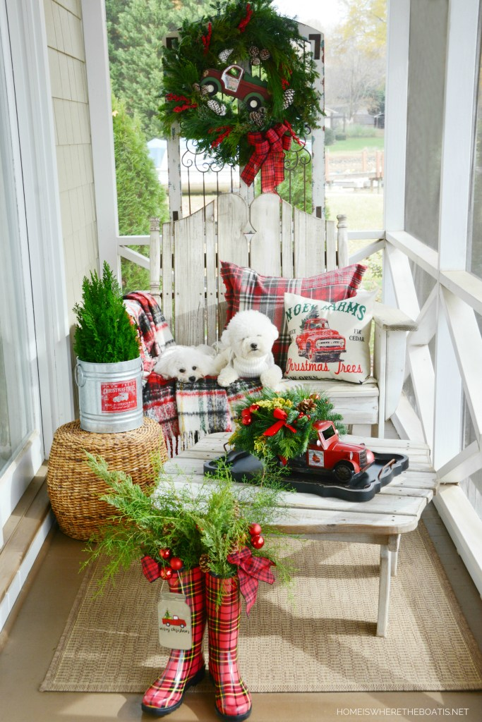 Christmas on the Porch with dogs | ©homeiswheretheboatis.net #christmas #truck #porch #dogs