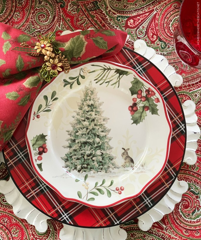 Christmas table with bunny and tree plate | ©homeiswheretheboatis.net #Christmas #tablescapes