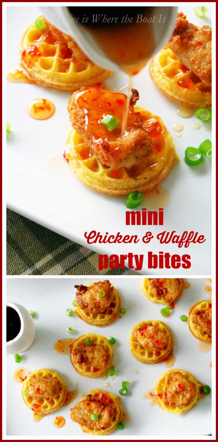 Short Cut Mini Chicken & Waffles with Pepper Jelly Syrup! A Southern dish turned-finger food, that's fit for company and fun for New Years!