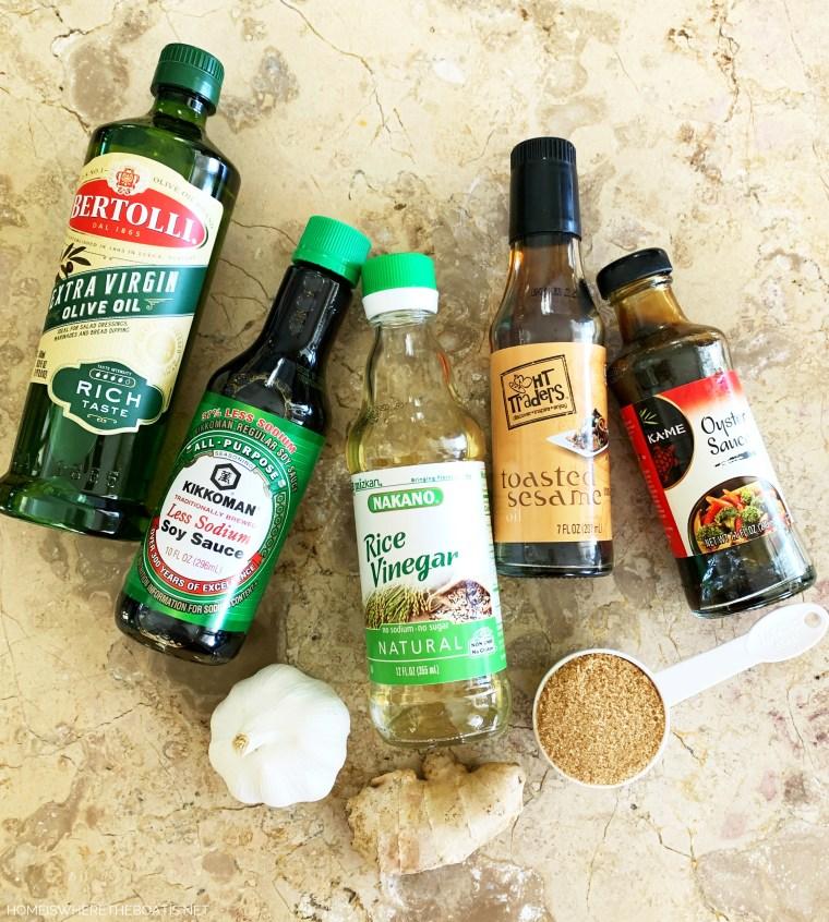 Asian Noodle Salad Dressing Ingredients | ©homeiswheretheboatis.net #noodles #recipe #healthy