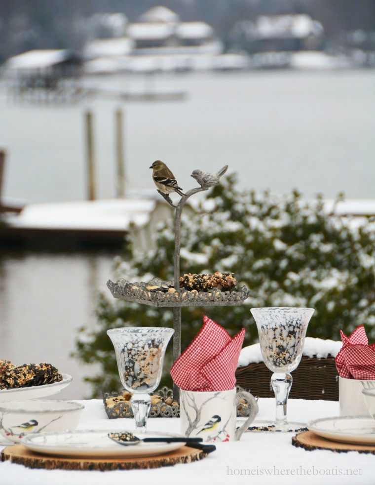 Snowy Day Table for the Birds | ©homeiswheretheboatis.net #winter #tablescapes #snow #birds