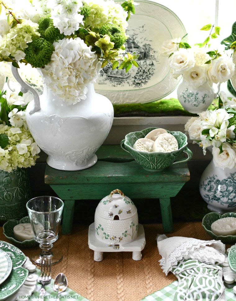 All Abuzz: Bees and Blooms in the Potting Shed | ©homeiswheretheboatis.net #bees #tablescapes #spring #green