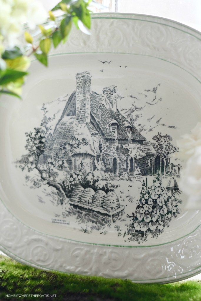 Transferware platter with bee skeps | ©homeiswheretheboatis.net #bees #tablescapes #spring