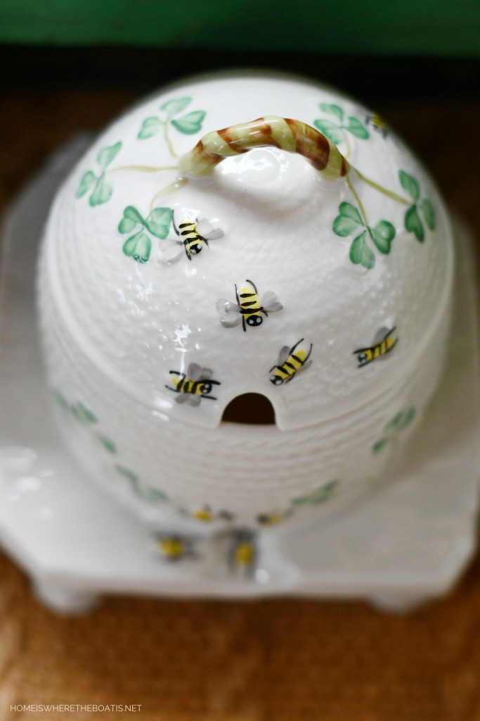 Belleek Shamrock Honey Pot | ©homeiswheretheboatis.net #bees
