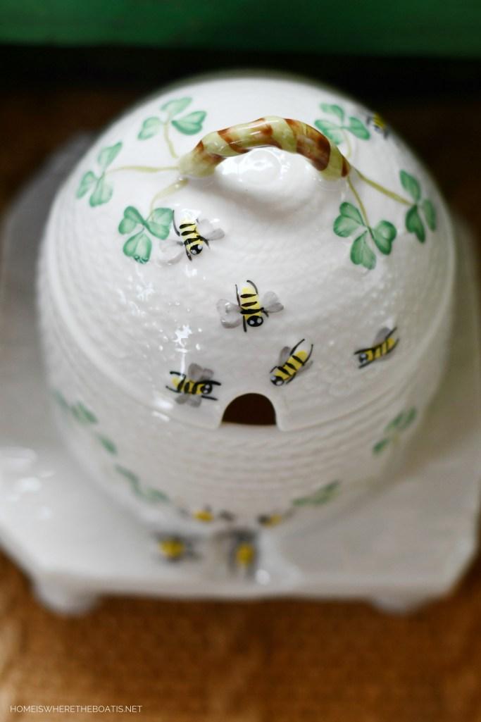Belleek Shamrock Honey Pot | ©homeiswheretheboatis.net #bees #Irish #shamrock