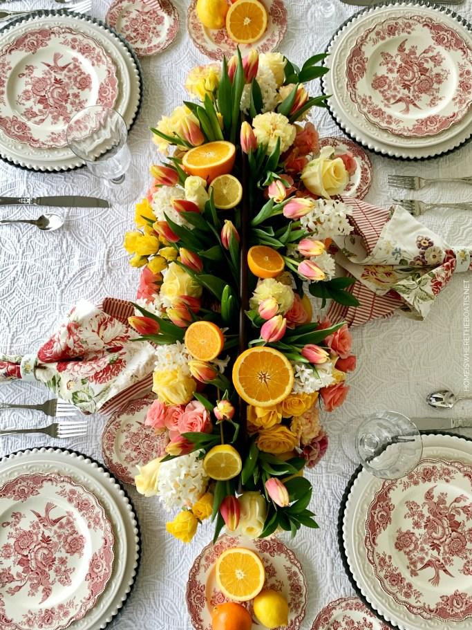 Transferware Table and DIY Floral Arrangement Citrus | ©homeiswheretheboatis.net #flowers #centerpiece #DIY #tablescapes