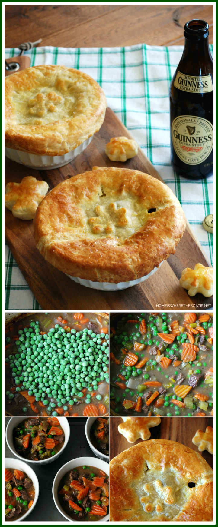 Beef and Guinness Pot Pie! A celebration in a bowl with puff pastry shamrocks | ©homeiswheretheboatis.net #StPatricksDay #potpie #Irish #stpatricksday #recipe #guinness