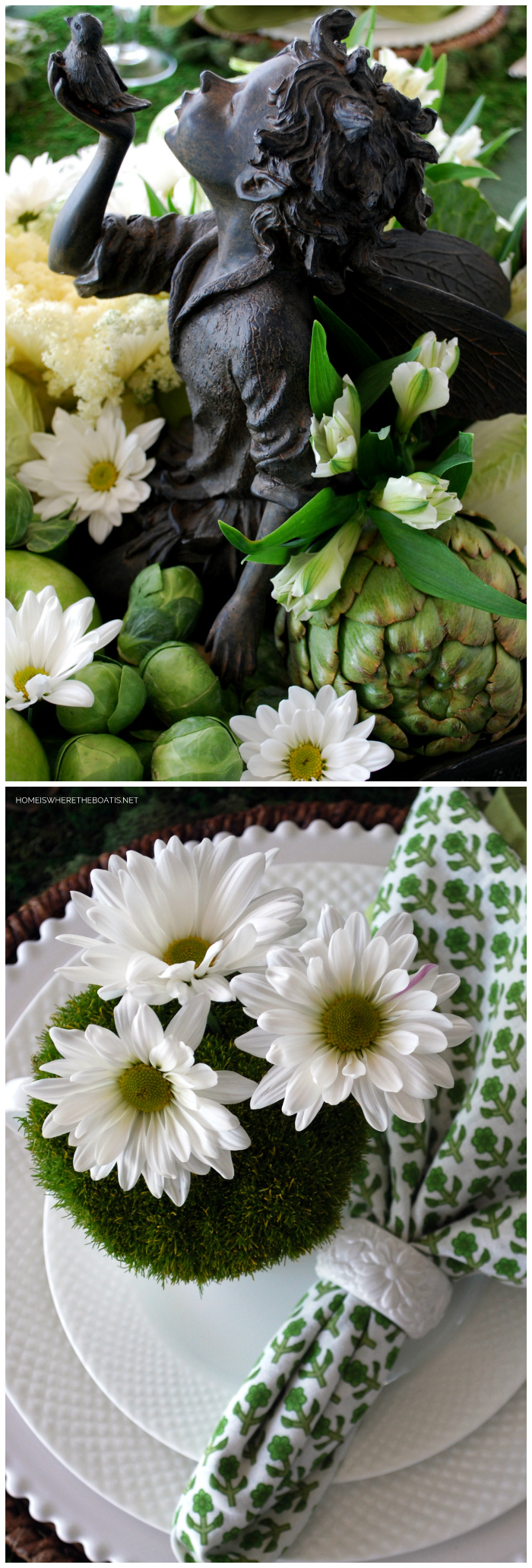 Fairy Lore Table and Centerpiece for St. Patrick's Day | ©homeiswheretheboatis.net #tablescapes #stpatricksday