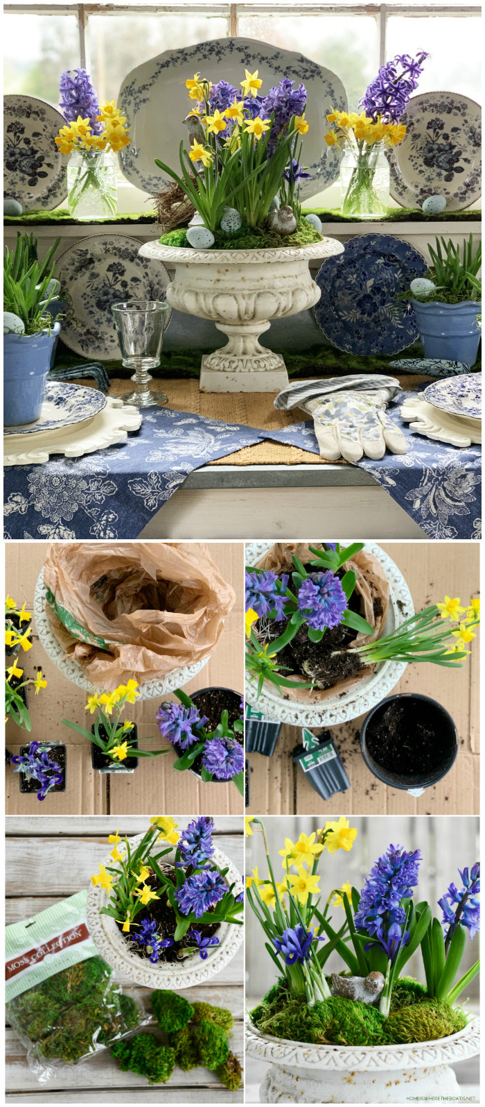 Spring Bulb Centerpiece DIY | ©homeiswheretheboatis.net #spring #flowers