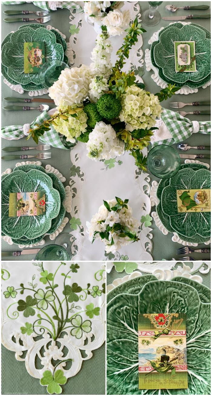 Wearing of the Green St. Patrick's Day table with vintage postcards and shamrock embroidered runner | ©homeiswheretheboatis.net #stpatricksday #tablescapes #shamrock